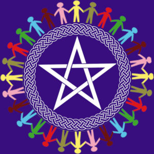 Pentacle within woven circle surrounded by people holding hands